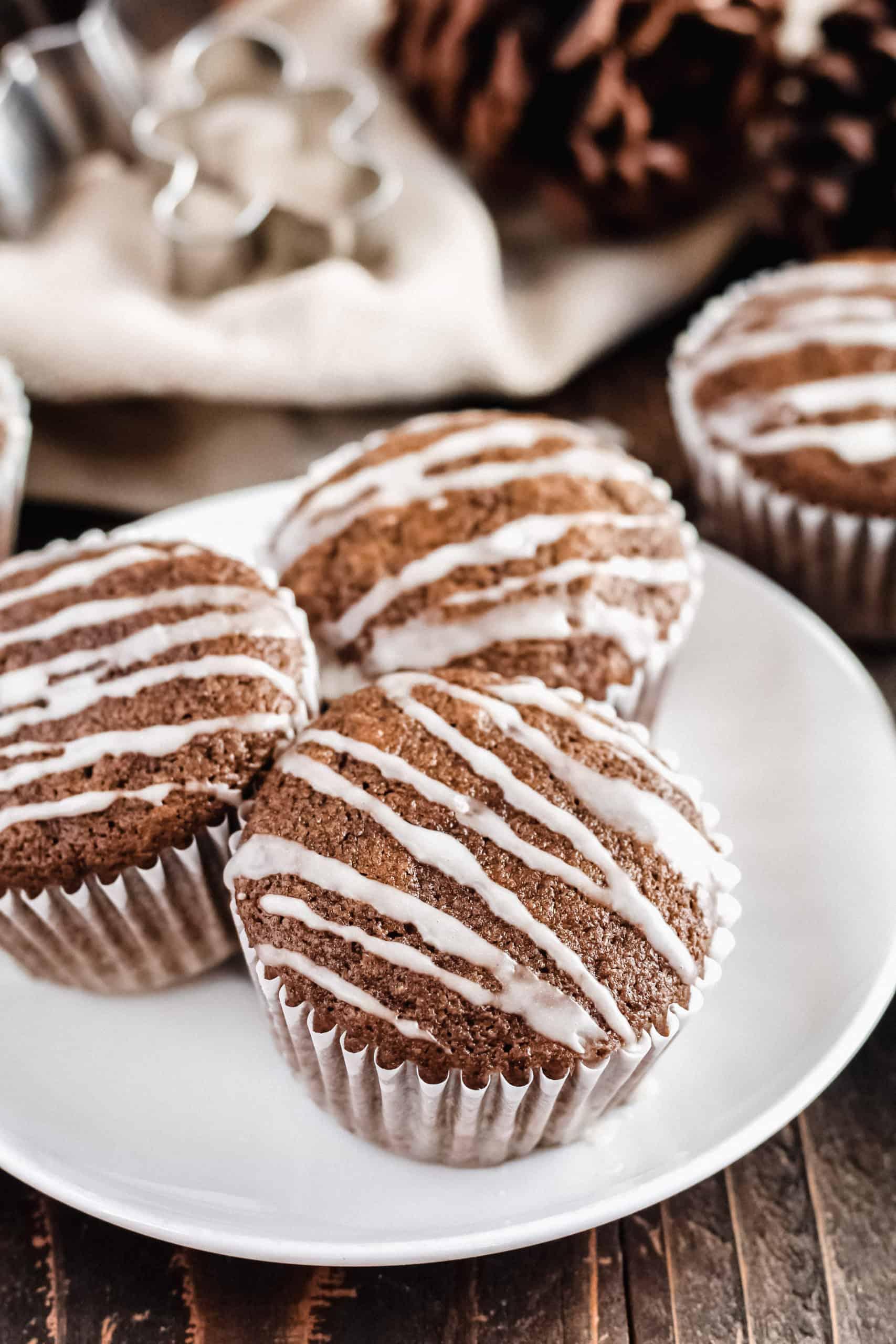 Gingerbread Muffins Gluten Free Whole Grain Low Sugar With Maple Vanilla Glaze